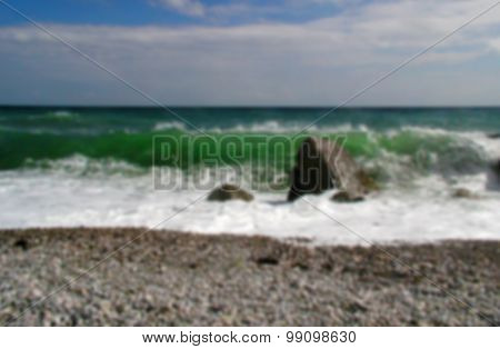 Blurry background - landscape with stormy Black Sea