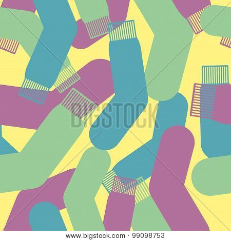 Military Socks Texture. Camouflage Army Seamless Pattern Of Colored Socks. Sofa Armies.