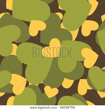 Military Texture For Love. Camouflage Army Seamless Pattern From  Silhouettes Of Heart. Soldiers Sea