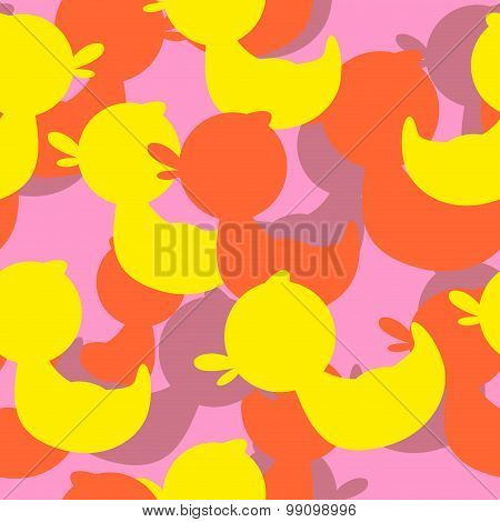 Military Texture Rubber Ducks. Vector Background Camouflage