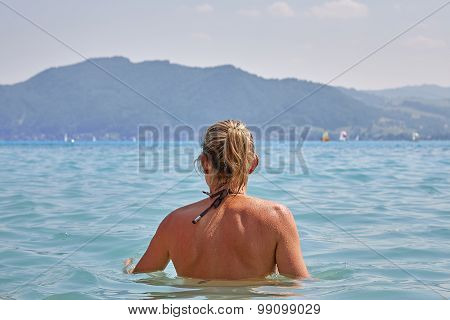 Young Girl Bathing In Lake Attersee