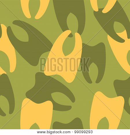Military Camouflage From Teeth. Dental Army Texture For Clothing. Protective Seamless Pattern.
