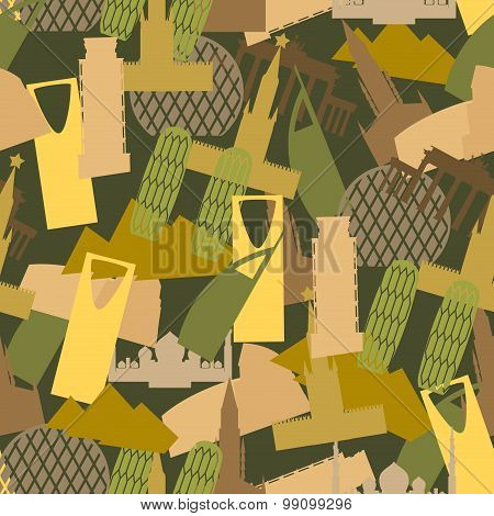 Military Camouflage Landmark Buildings. Attractions Of Army Clothing Texture. Protective Seamless Pa