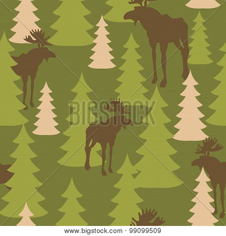 Army Pattern Of Deer And Forest. Military Camouflage Texture Vector Moose And Trees. Hunter Protecti