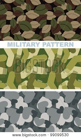 Set Of Military Camouflage Texture. Army Pattern Of Dumplings. Military Vector Texture Of Socks. Hun