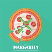 ������, ������: Margarita Pizza Vector Illustration