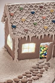 picture of gingerbread house  - Gingerbread house with colorful candies for Christmas - JPG