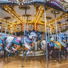 picture of carousel horse  - Old French carousel in a holiday park - JPG