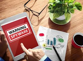picture of spyware  - Digital Device Wireless Browsing Warning Spyware Concept - JPG