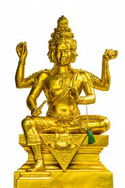 image of brahma  - Golden statue of Brahma isolated on white background - JPG