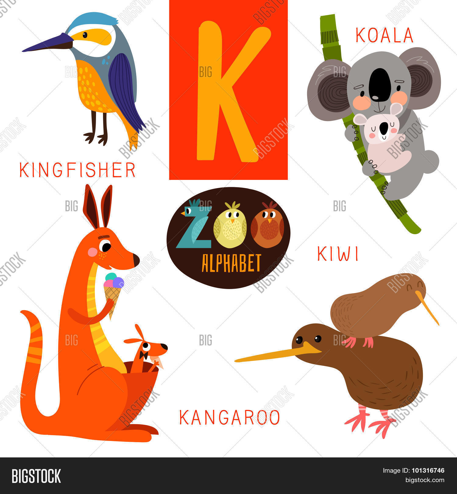 cute zoo alphabet vector k letter vector u0026 photo bigstock