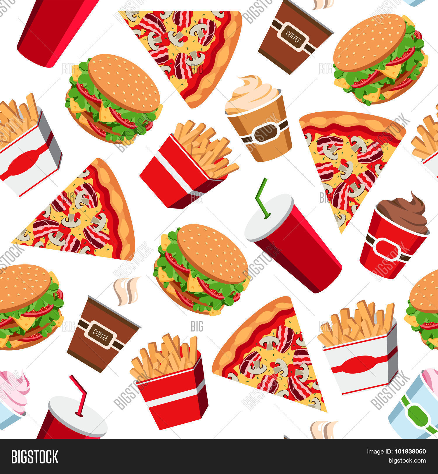 seamless fast food pattern vector vector amp photo bigstock