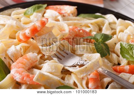 Fettuccini Pasta In Cream Sauce With Shrimp Macro. Horizontal
