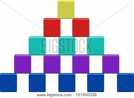 Pyramid Of Color Toy Cubes