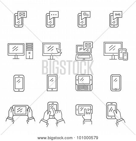 Set of icons modern technology and communication