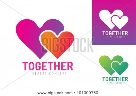 Heart icons vector logo. Heart logo, heart shape. Togetherness concept. Together logo. Heart logo. Heart icon. Love, health or doctor and relations symbol. Heart vector logo, heart together icons