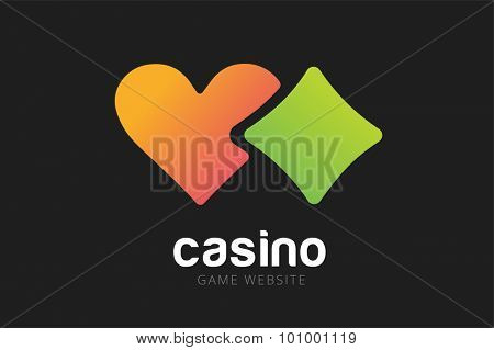 Casino logo icon. Casino poker, cards or casino game and money. Casino vector icons. Casino games. Casino cards. Game cards. Playing casino games. Heart logo,  heart icon