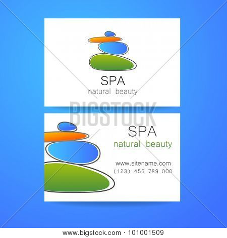 Spa - a beauty salon. Stone pyramid as a symbol - of balance and harmony. Template Logo Design for beauty salon, spa center, beauty treatments, massages etc..