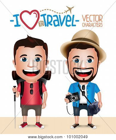 3D Realistic Tourist Man Character Wearing Casual Dress