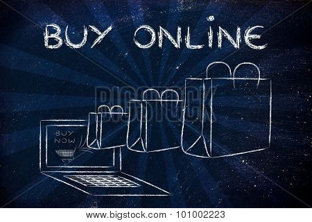 Buy Online (illustration Of Bags Coming Out Of A Laptop)