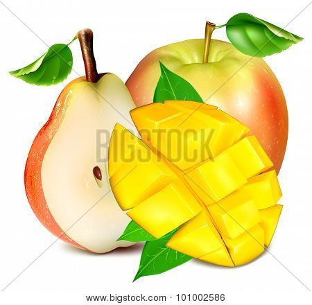Ripe fresh fruits: apple, pear and mango with leaves. Vector illustration
