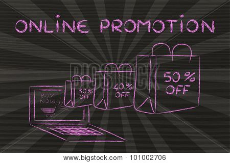 Online Promotion (illustration Of Bags Coming Out Of A Laptop)