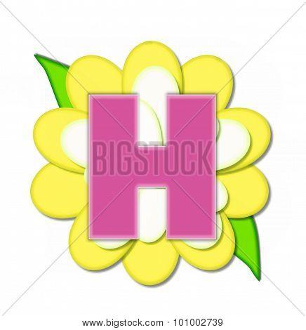 Alphabet Flower Pin Yellow H