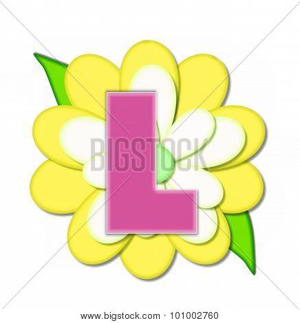 Alphabet Flower Pin Yellow L