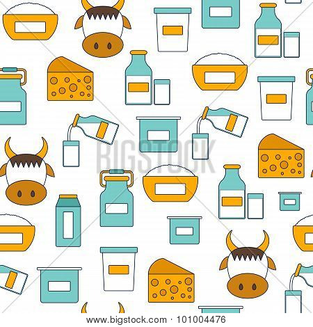 Seamless modern background with flat products containing lactose: milk bottle, glass, cheese, cottag