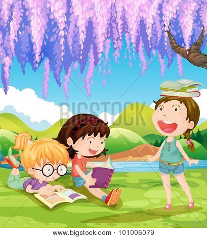 Children reading books under the tree illustration