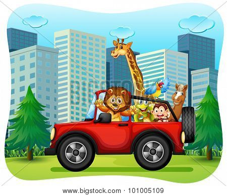 Wild animals riding on red jeep illustration