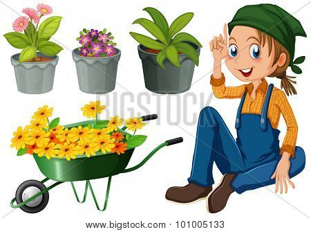 Gardener with potted plants and flowers illustration