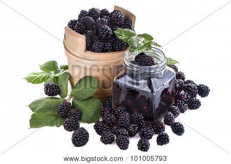blackberries on a white