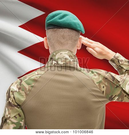 National Military Forces With Flag On Background Conceptual Series - Bahrain