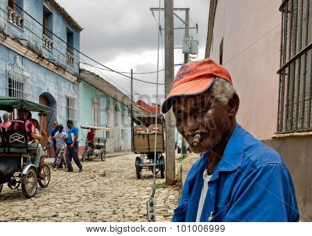 Cuban Local Man Smoking Cigar