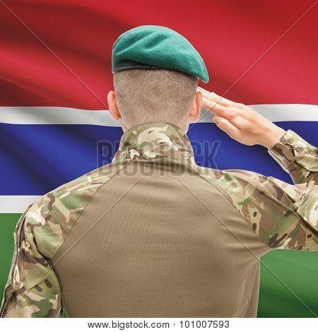 National Military Forces With Flag On Background Conceptual Series - Gambia