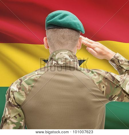 National Military Forces With Flag On Background Conceptual Series - Ghana