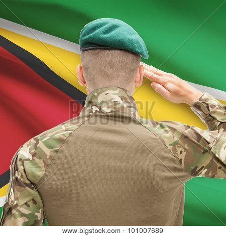 National Military Forces With Flag On Background Conceptual Series - Guyana