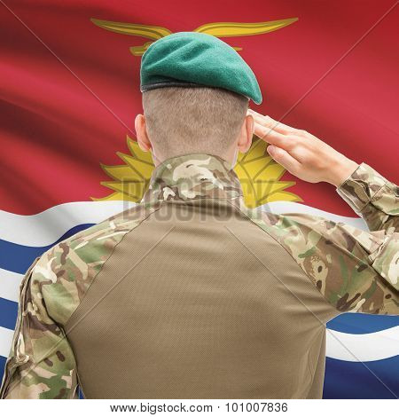National Military Forces With Flag On Background Conceptual Series - Kiribati