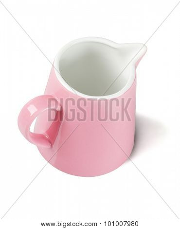 Pink Ceramic Pitcher on White Background