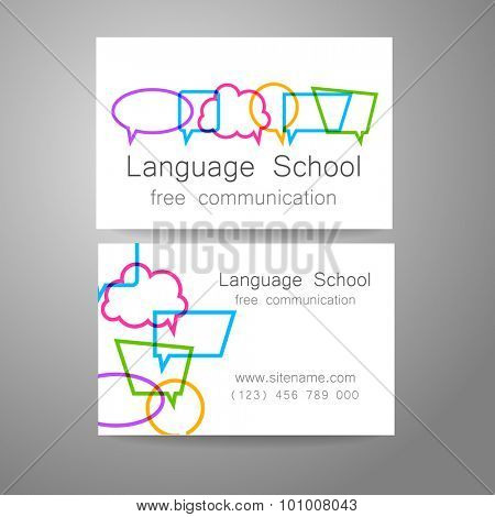 Language school logo - a design template. The idea of the design mark for the school, courses, speaking club, linguistic center, translation agency. Design brand business card.