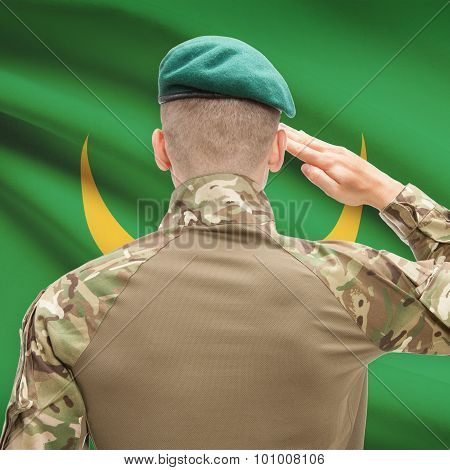 National Military Forces With Flag On Background Conceptual Series - Mauritania
