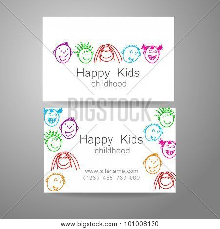Happy children logo. Template design sign for school, kindergarten, summer camps, children's team and others. Branded business card.