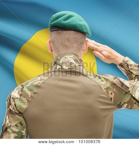 National Military Forces With Flag On Background Conceptual Series - Palau