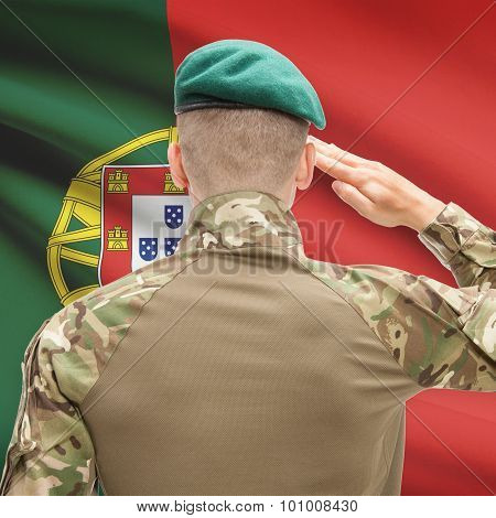 National Military Forces With Flag On Background Conceptual Series - Portugal