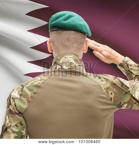 National Military Forces With Flag On Background Conceptual Series - Qatar