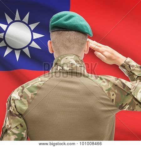 National Military Forces With Flag On Background Conceptual Series - Taiwan