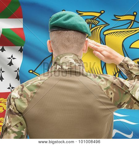 National Military Forces With Flag On Background Conceptual Series - Saint-pierre And Miquelon