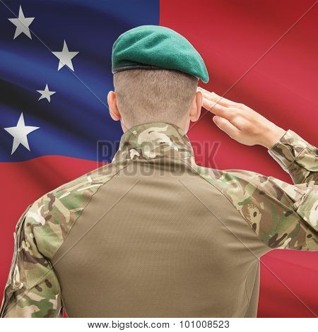 National Military Forces With Flag On Background Conceptual Series - Samoa