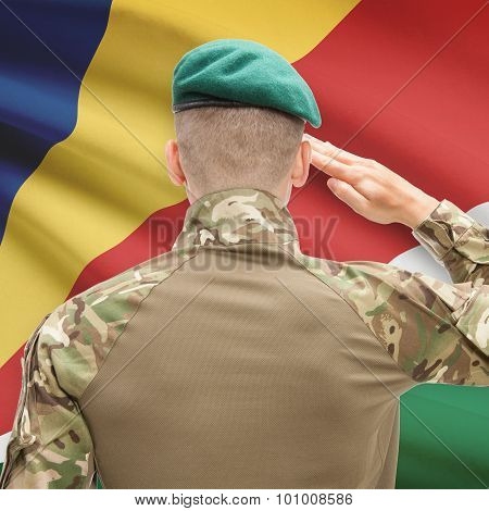 National Military Forces With Flag On Background Conceptual Series - Seychelles